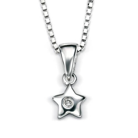 Neckwear - Diamond set star pendant and chain in silver  - PA Jewellery