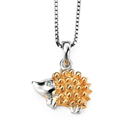 Neckwear - Hedgehog pendant and chain in silver with gold plating  - PA Jewellery