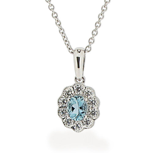 Neckwear - Aquamarine and diamond cluster pendant and chain in 18ct white gold  - PA Jewellery