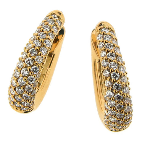 Earrings - Diamond 'huggie' earrings in 18ct yellow gold, 0.56ct  - PA Jewellery
