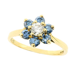 Blue and white cubic zirconia floral cluster ring in 9ct gold