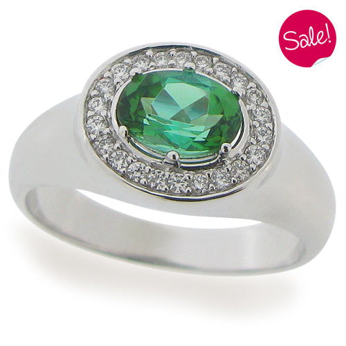 Green Tourmaline and diamond ring in 18ct white gold