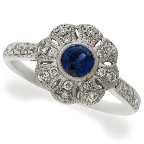 Ring - Sapphire & Diamond floral cluster ring in 18ct white gold  - PA Jewellery