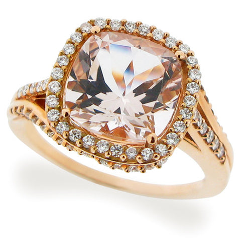Ring - Morganite and diamond ring 18ct rose gold  - PA Jewellery