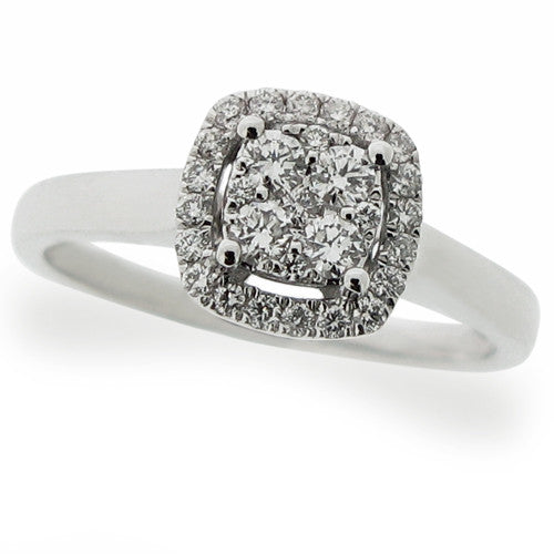 Ring - Diamond cushion shape cluster 'halo' ring in 18ct white gold,  - PA Jewellery