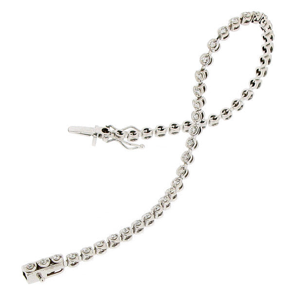 Wristwear - Diamond tennis bracelet in 18ct white gold, 1.10ct.  - PA Jewellery