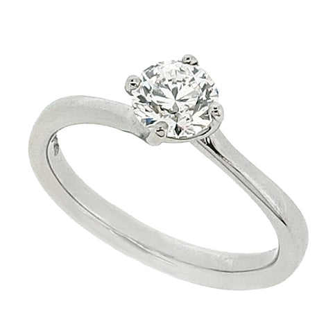 Brilliant cut diamond twist solitaire ring in platinum, 0.71ct