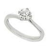 Brilliant cut diamond twist solitaire ring in platinum, 0.61ct