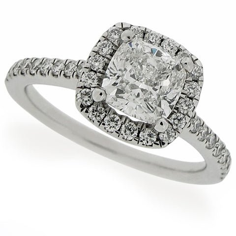 Ring - Cushion shape diamond 'halo' cluster ring in platinum, 1.67ct total  - PA Jewellery