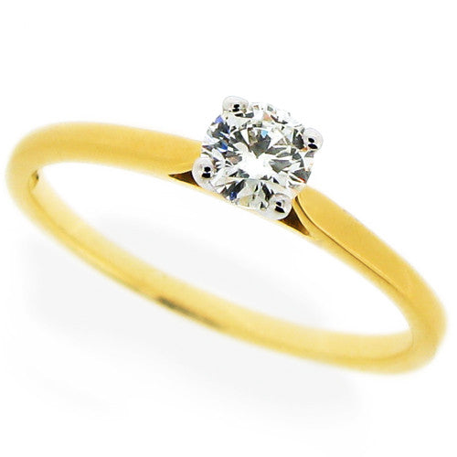 Ring - Brilliant cut Diamond solitaire ring in 18ct yellow gold, 0.26ct  - PA Jewellery