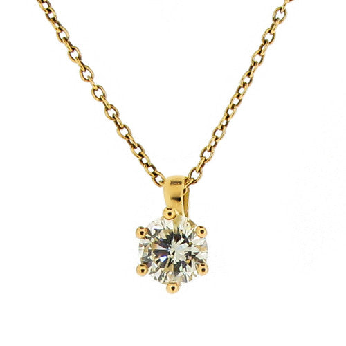 Neckwear - Brilliant cut diamond solitaire pendant and chain in 18ct yellow gold, 0.68ct  - PA Jewellery