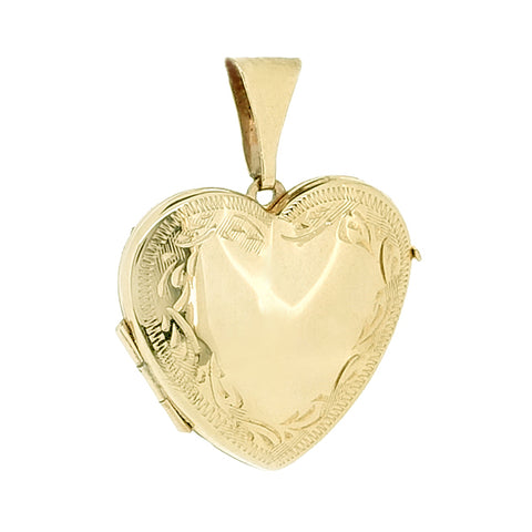Engraved heart shape locket in 9ct yellow gold