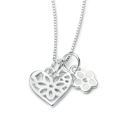 Neckwear - Heart and flower pendants and chain in silver  - PA Jewellery