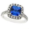 Ring - Tanzanite & Diamond cushion shape 'halo' ring in platinum  - PA Jewellery