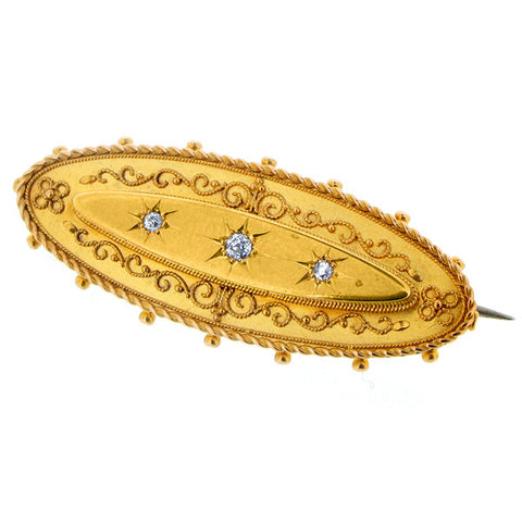 Brooch - Diamond set Victorian brooch in 18ct yellow gold.  - PA Jewellery
