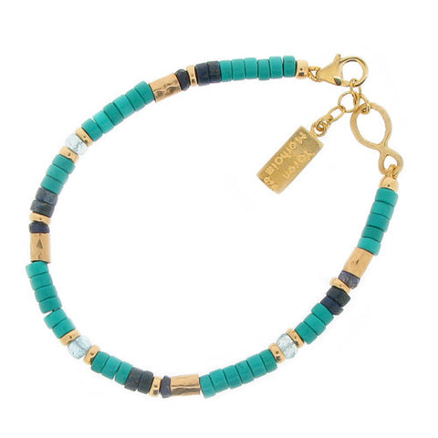 Wristwear - Turquoise, lapis lazuli and aquamarine bead bracelet in silver with gold plating  - PA Jewellery