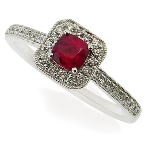 Ring - Ruby & Diamond ring in 18ct white gold  - PA Jewellery