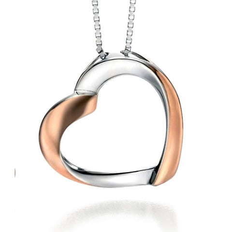 Neckwear - Ribbon heart pendant and chain in silver with rose gold plate  - PA Jewellery