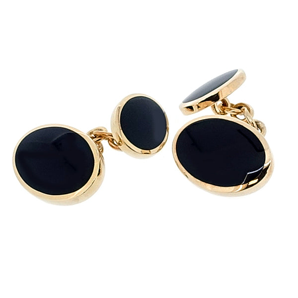 Onyx cufflinks in 9ct gold