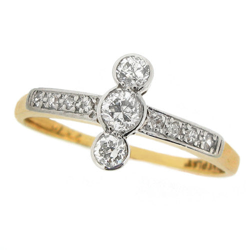 Ring - Old cut diamond ring in 18ct yellow gold and platinum  - PA Jewellery