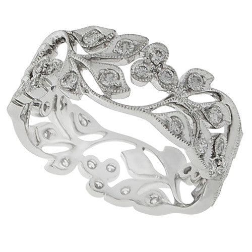 Ring - Diamond floral band ring in 18ct white gold  - PA Jewellery