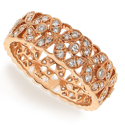Ring - Diamond floral band ring in 18ct rose gold  - PA Jewellery