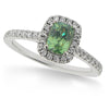 Ring - Demantoid garnet and diamond halo design ring in 18ct white gold  - PA Jewellery