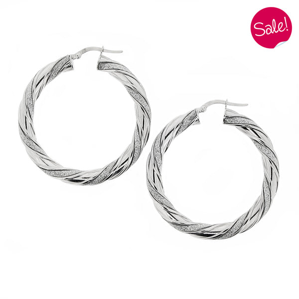 Glitter twist creole earrings in 9ct white gold