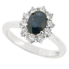 Sapphire and diamond cluster ring in 9ct white gold