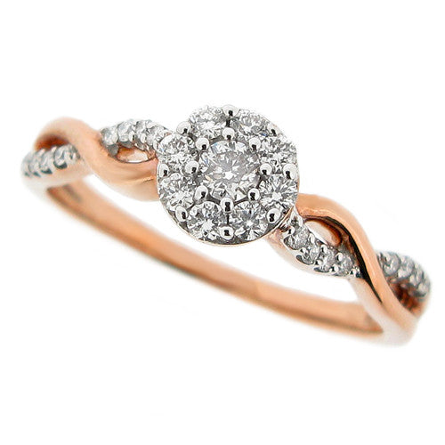 Ring - Diamond cluster ring in 9ct rose gold, 0.25ct  - PA Jewellery