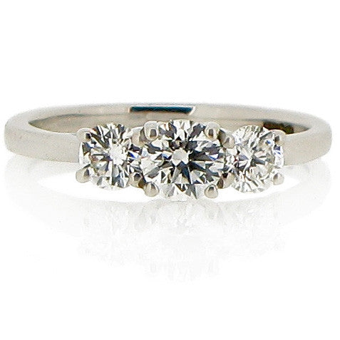Ring - Diamond three stone ring in 18ct white gold, 0.62ct.  - PA Jewellery