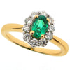 Ring - Emerald and diamond cluster ring in 18ct yellow gold  - PA Jewellery