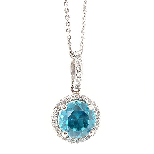 Blue zircon and diamond halo cluster pendant and chain in 18ct white gold