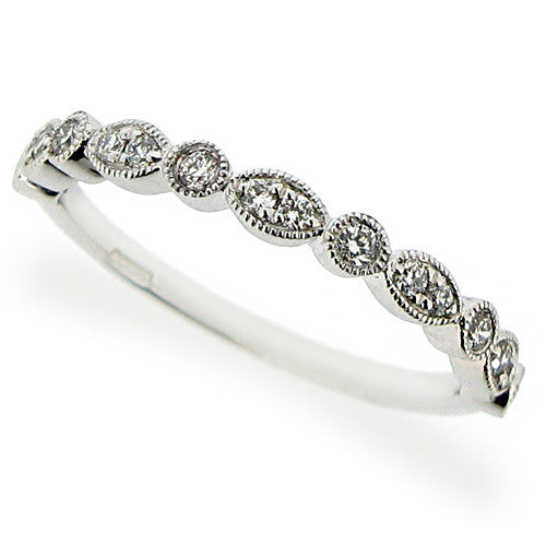 Ring - Diamond half eternity band with marquise detail in platinum, 0.17ct  - PA Jewellery