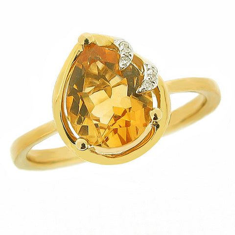 Ring - Citrine and diamond ring in 9ct yellow gold  - PA Jewellery