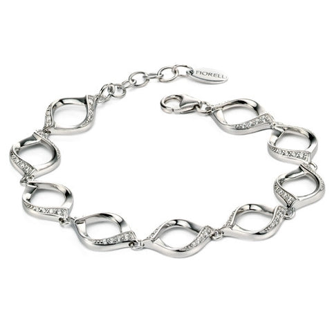 Wristwear - Twist bracelet with CZ in silver  - PA Jewellery