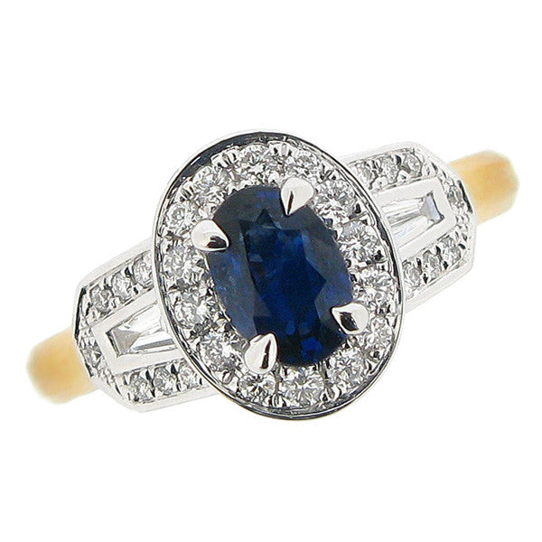 Ring - Sapphire and diamond cluster ring in 18ct yellow gold  - PA Jewellery