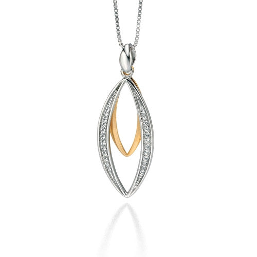 Neckwear - Marquise pendant and chain with cubic zirconia in silver with gold plating  - PA Jewellery