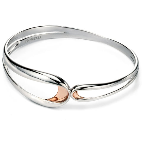 Looped design push-on bangle in silver with rose gold plating