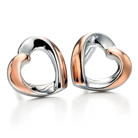 Earrings - Ribbon heart earrings in silver with rose gold plate  - PA Jewellery