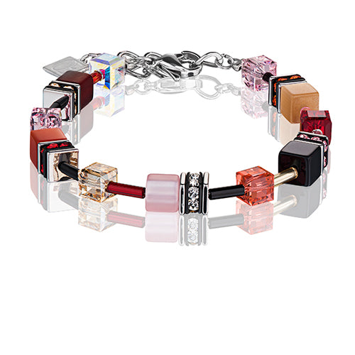 Coeur de Lion cube bracelet -Red, rose- 2838/30-0326