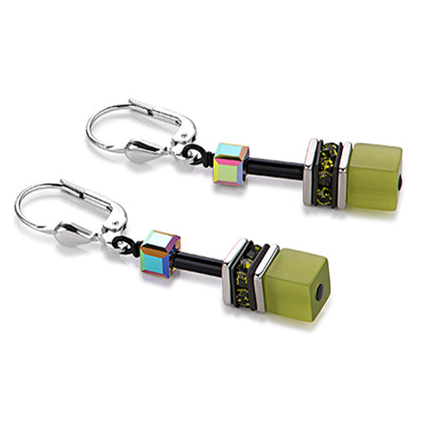 Green Geo cube earrings - 2838/30-0535