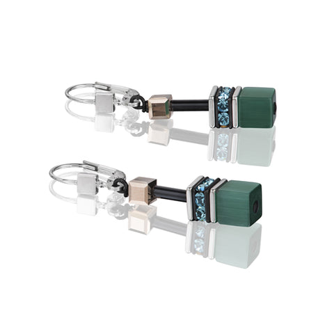 GREEN/TURQUOISE GEO CUBE EARRINGS - 2838/20-0537