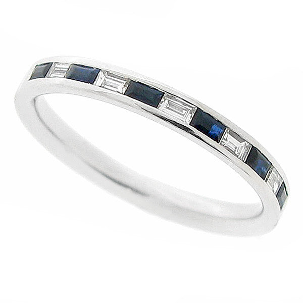 Sapphire and diamond half eternity band in 18ct white gold