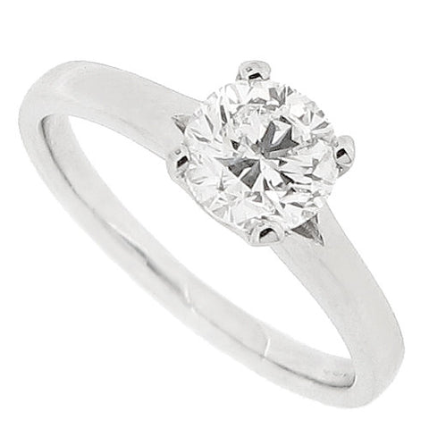 Brilliant cut diamond solitaire ring in platinum, 1.02ct