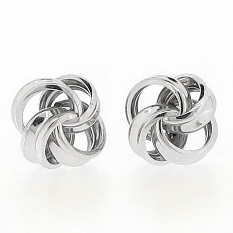 Knot stud earrings in 9ct white gold