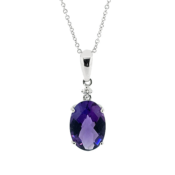 Amethyst and diamond pendant and chain in 18ct white gold