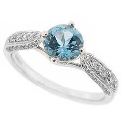 Aquamarine and diamond ring in platinum