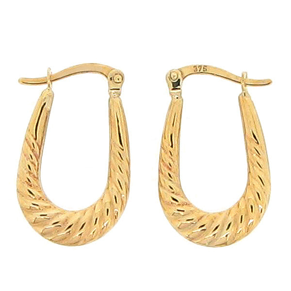 Oval rope effect creole earrings in 9ct gold