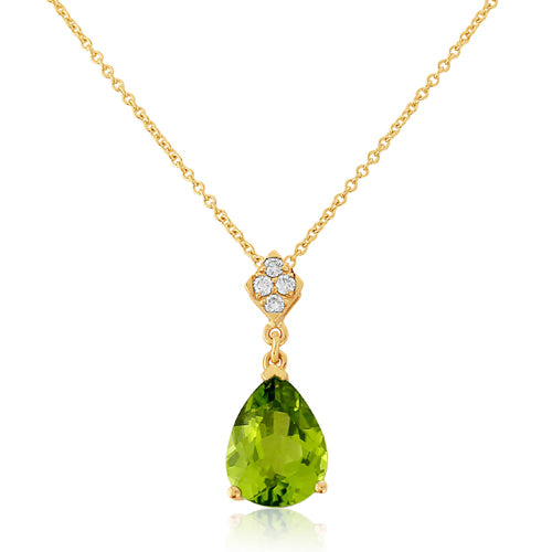 Peridot and diamond pendant and chain in 9ct gold